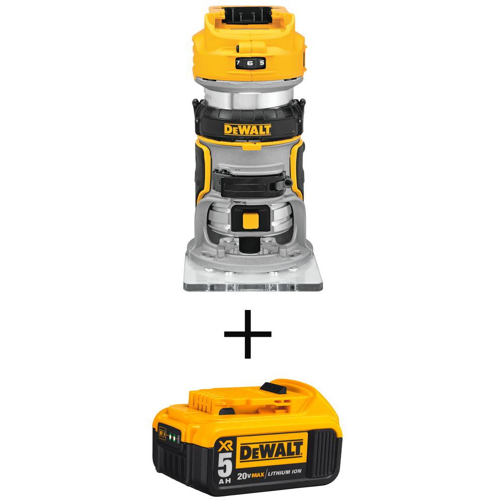 DEWALT 20-Volt MAX XR Lithium-Ion Cordless Brushless Router (Tool-Only) with Free 20-Volt MAX XR Li-Ion Battery Pack 5.0 Ah