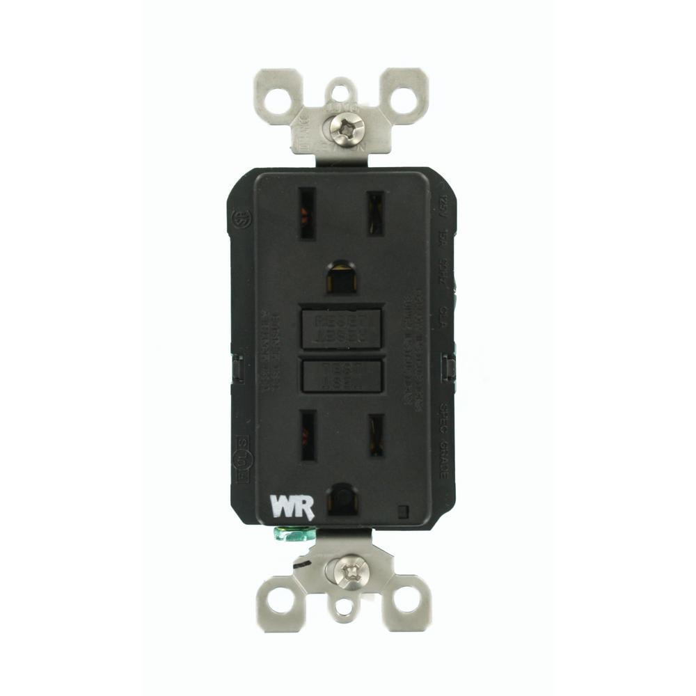 15 Amp SmartlockPro Weather Resistant GFCI Outlet, Black