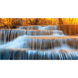 Yosemite 36 In X 60 Autumn Waterfall Tempered Glass Wall Art