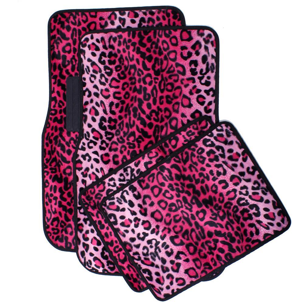 Leopard Pink 4-Piece Heavy-Duty 26.5 in. x 17.25 in. Rubber Floor Mats