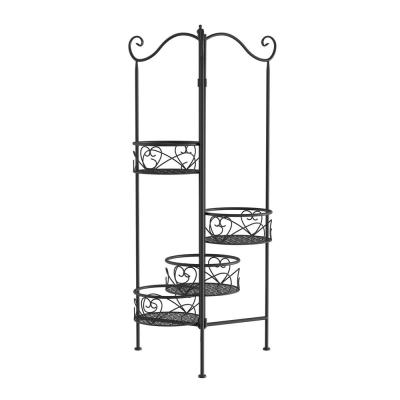 4-Tier Black Metal Decorative Folding Plant Stand Display
