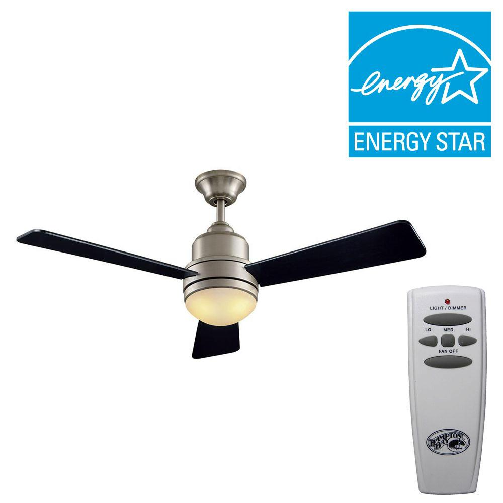 Hampton Bay Trieste 52 in. Indoor Brushed Nickel Indoor Ceiling Fan with Light Kit and Remote Control