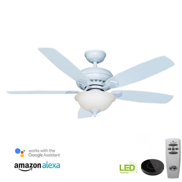 Southwind 52 in. LED Matte White Ceiling Fan with Light Kit Works with Google Assistant and Alexa
