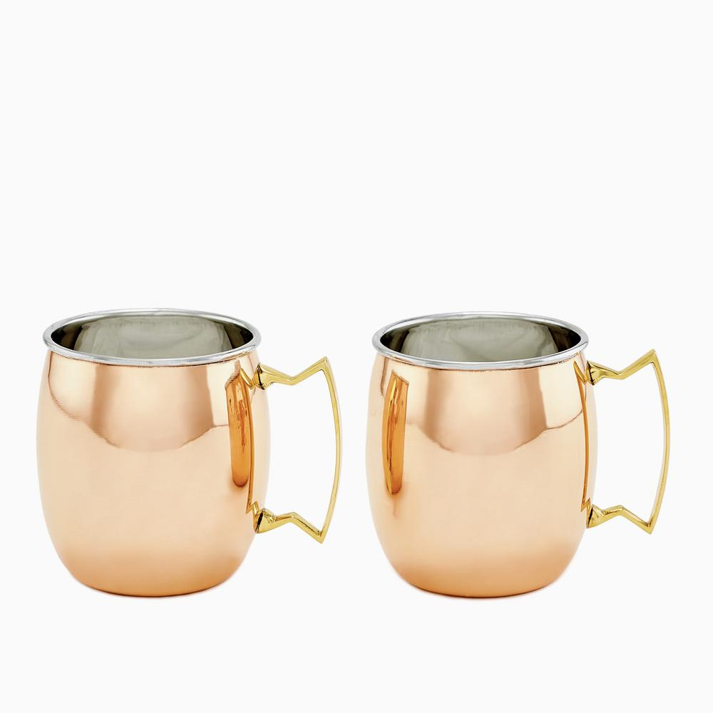 Set of 2, 16 oz. 2 PLY Solid Copper/SS Moscow Mule