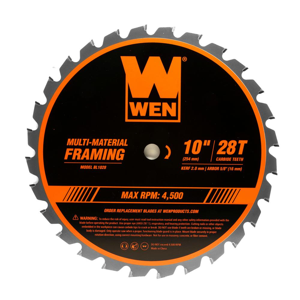 WEN 10 in. 28-Tooth Carbide-Tipped Professional Multi-Material Framing Saw Blade
