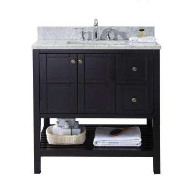 Winterfell 36 in. W x 22 in. D Single Vanity in Espresso with Marble Vanity Top in White with White Basin