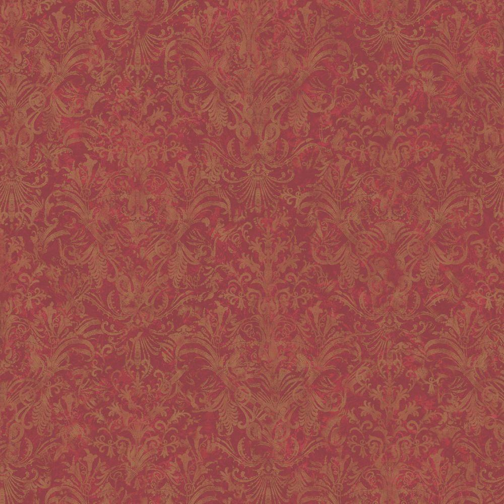 The Wallpaper Company 56 sq. ft. Red Earth Tone Striped Damask Wallpaper