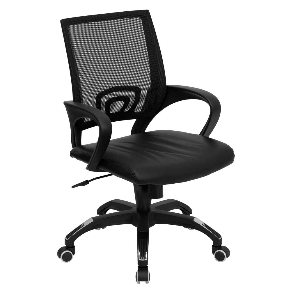 Mid-Back Black Mesh Swivel Task Chair with Black Leather Padded Seat