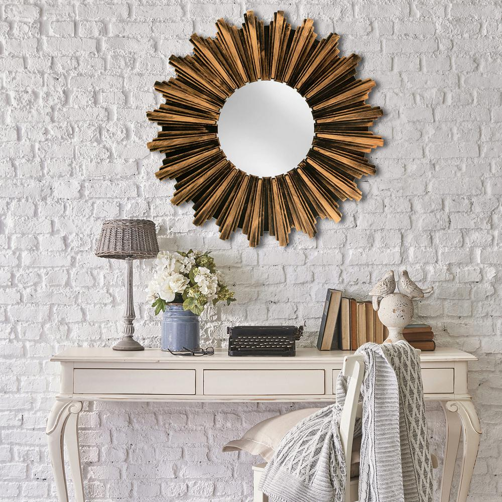 13 in. Sunburst Framed Wall Mirror