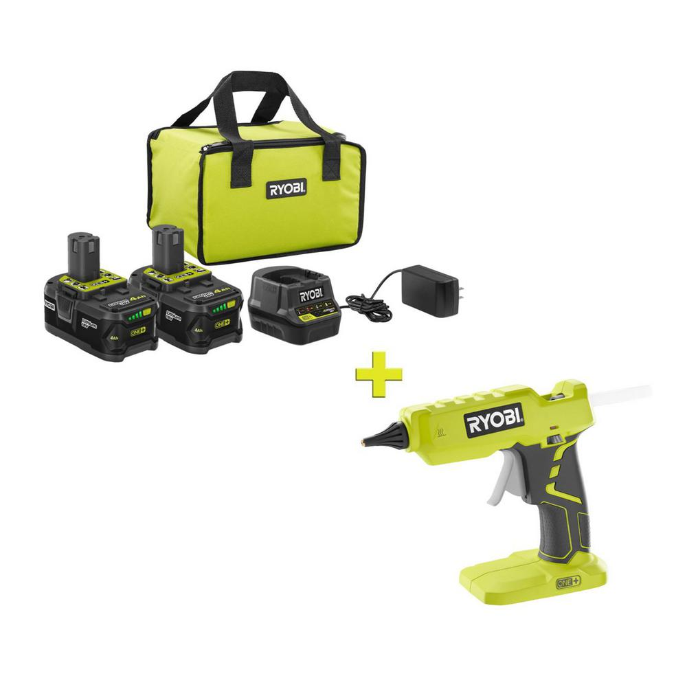 RYOBI 18-Volt ONE+ High Capacity 4.0 Ah Battery (2-Pack) Starter Kit with Charger and Bag with FREE ONE+ Full Size Glue Gun was $251.97 now $99.0 (61.0% off)