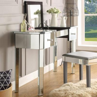 Isla Mirrored Vanity Table with 2-Drawers Lift-Up Top