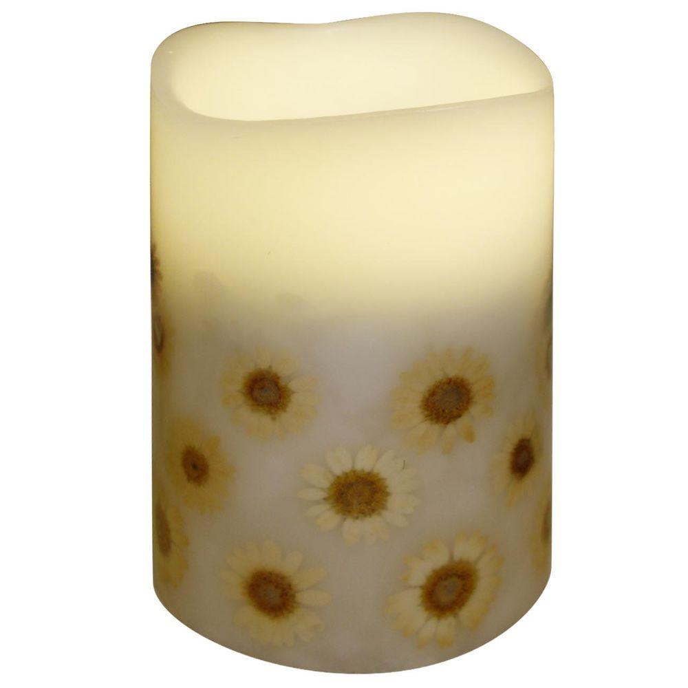 null 4 in. x 5.5 in. Flameless Flower Embedded Candle