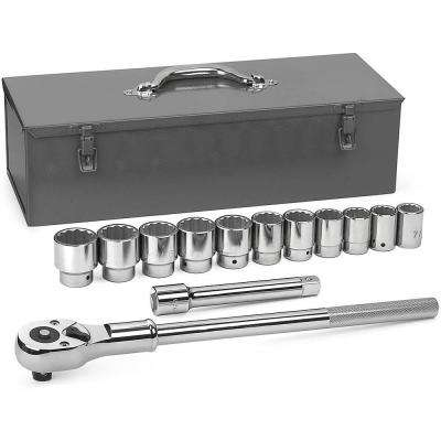 3/4 in. Drive 12-Point Ratchet and Socket Set (13-Piece)