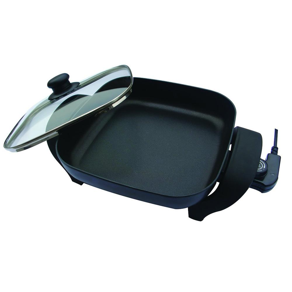 Non-Stick Electric Skillet, Black The Nesco 8 in. Electric Skillet is great for preparing meals at home or in RVs, campers, college dorms and at the office. The skillet features a high quality non-stick interior so everything you cook releases easily. Stir fry shrimp and vegetables or cook a warm and bubbly Alfred dish. Adjustable temperature control provides flexibility to prepare a variety of foods and deep cooking vessel makes one-dish meals simple and convenient. The surface wipes clean for easy clean up. Use it for frying, roasting, stir fries, as well as sauteing and simmering meals. Color: Black.