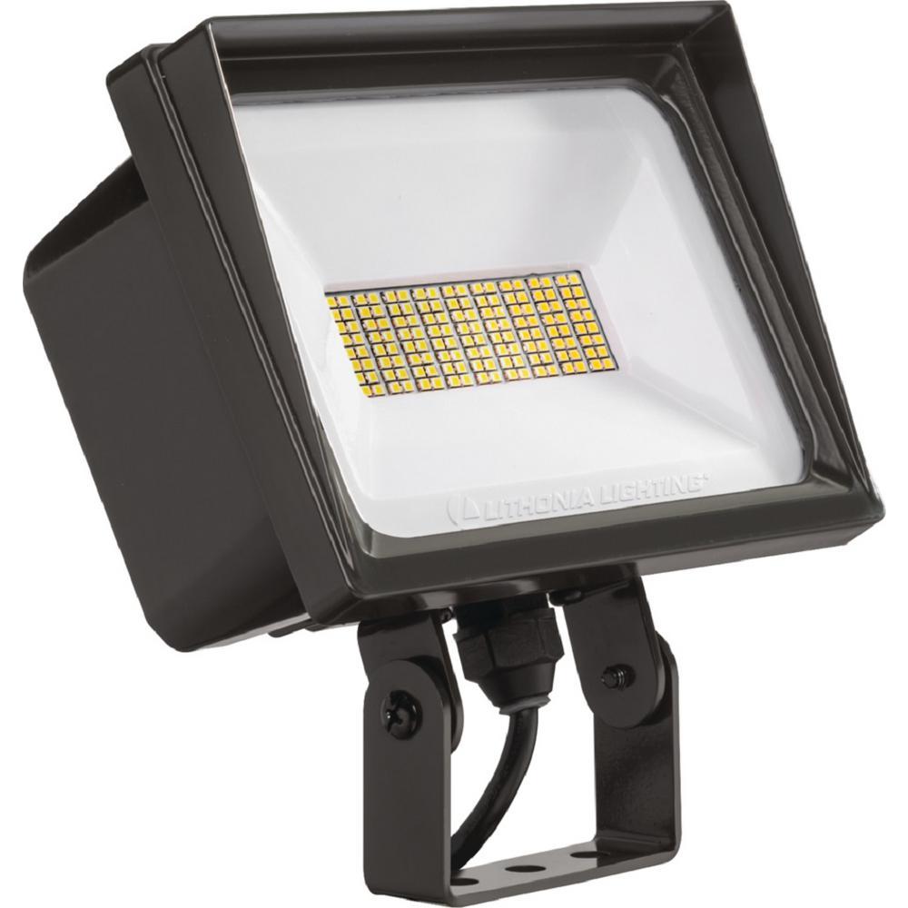 QTE 66-Watt Bronze Outdoor Integrated LED Flood Light