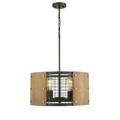 Finn II 4-Lights Black and Wood Finish 20 in. LED Pendant