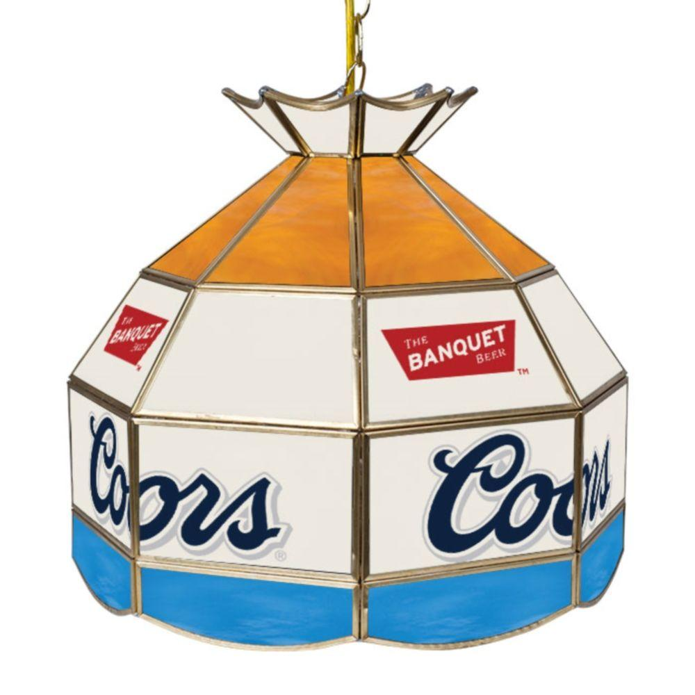 Trademark Coors 16 in. Brass Hanging Tiffany Style Billiard Lamp