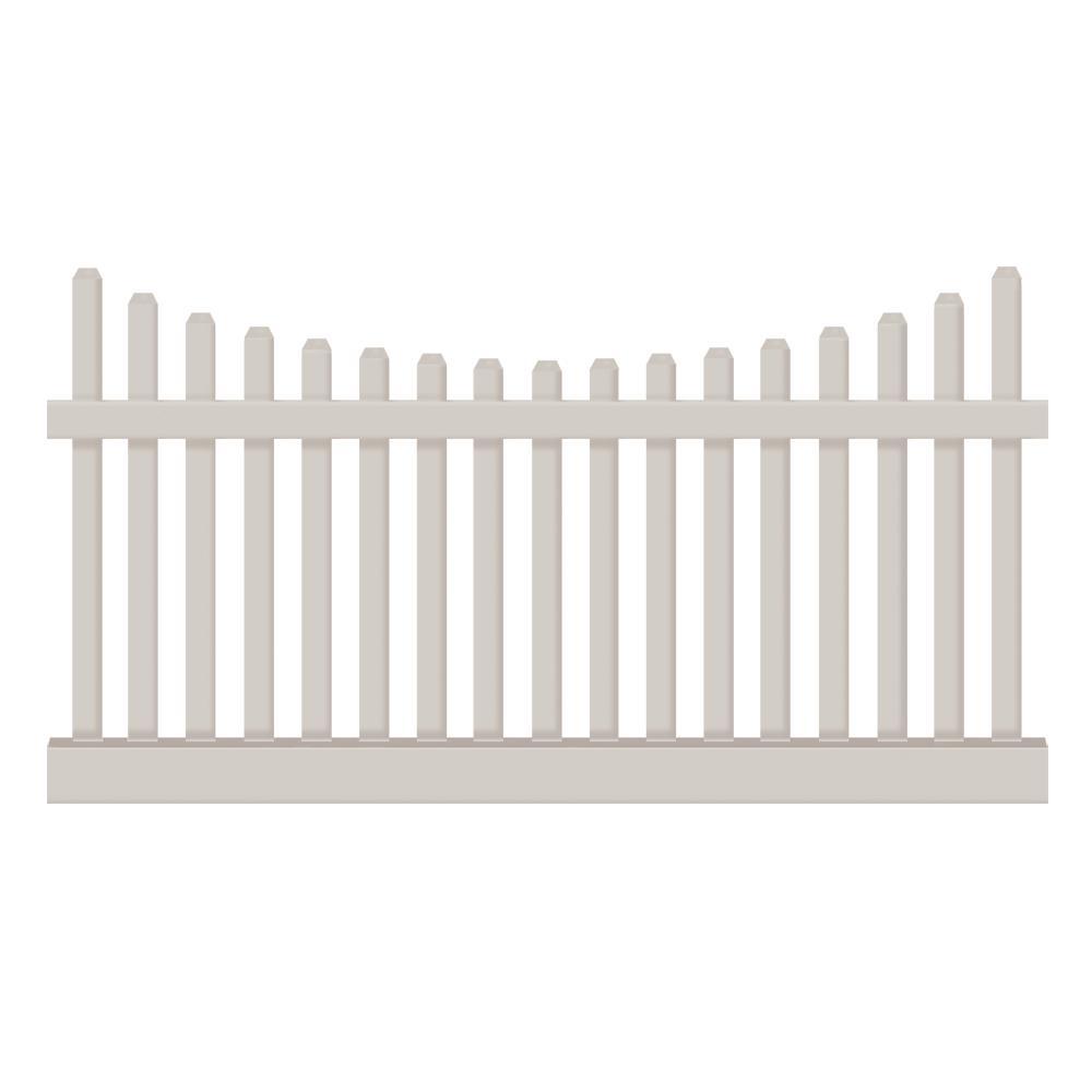 Hampshire 4 ft. H x 8 ft. W Tan Vinyl Picket Fence Panel Kit