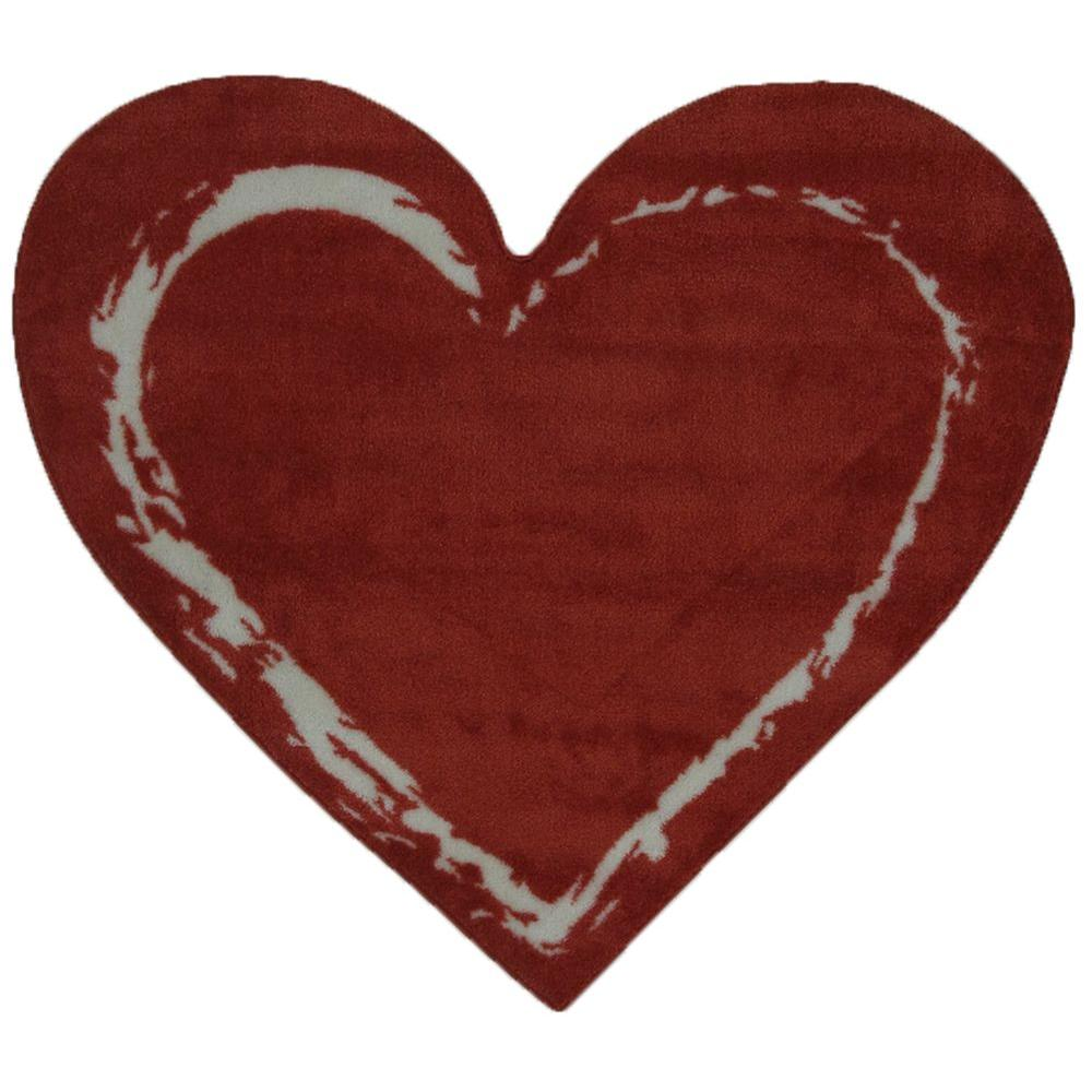 LA Rug Fun Time Shape Red Heart 35 in. x 39 in. Area Rug