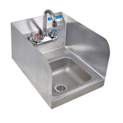 Space Saver Wall Mount Hand Sink Deep Bowl with Side Splashes Drain and 4 in. OC Splash Mount Faucet in Stainless Steel