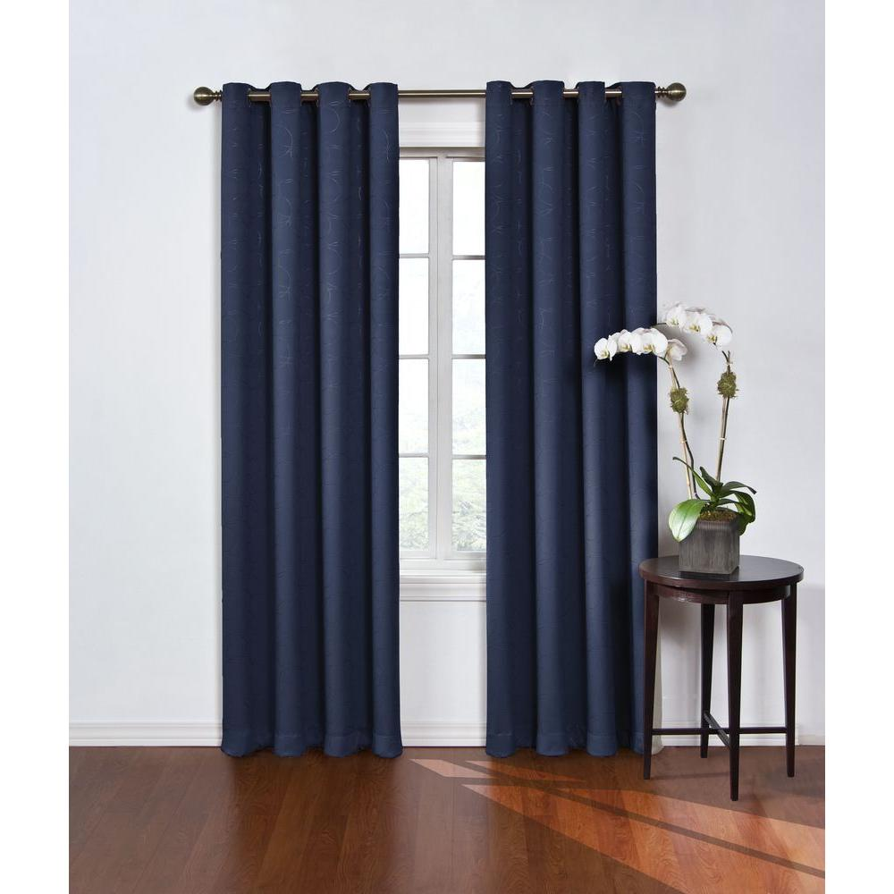 Eclipse Round and Round Blackout Window Curtain Panel in Navy - 52 in. W x 84 in. L
