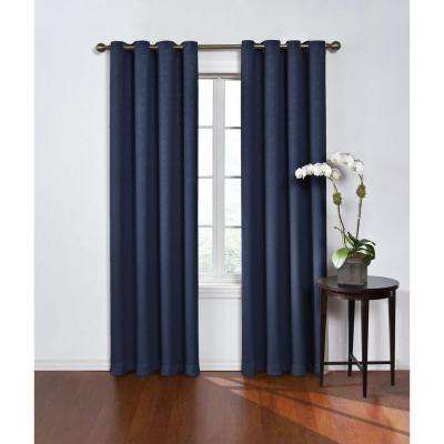 Blackout Round And Round Navy Polyester Grommet Blackout Curtain   52 In. W  X 108