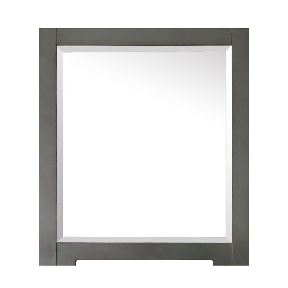 Kelly 28 in. W x 32 in. H Framed Rectangular Beveled Edge Bathroom Vanity Mirror in Grayish Blue