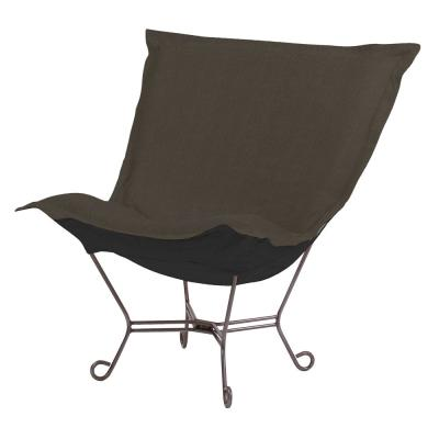 Scroll Puff Chair with Cover, Titanium Frame, Sterling Charcoal
