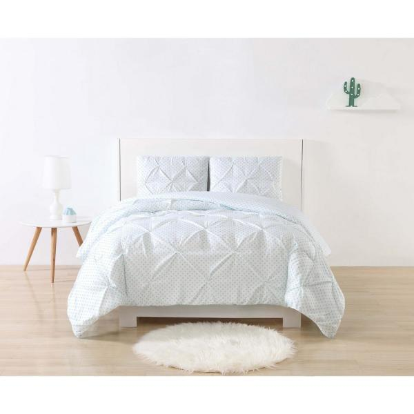 My World Anytime Dot Pinch Pleat Aqua Queen Duvet Set