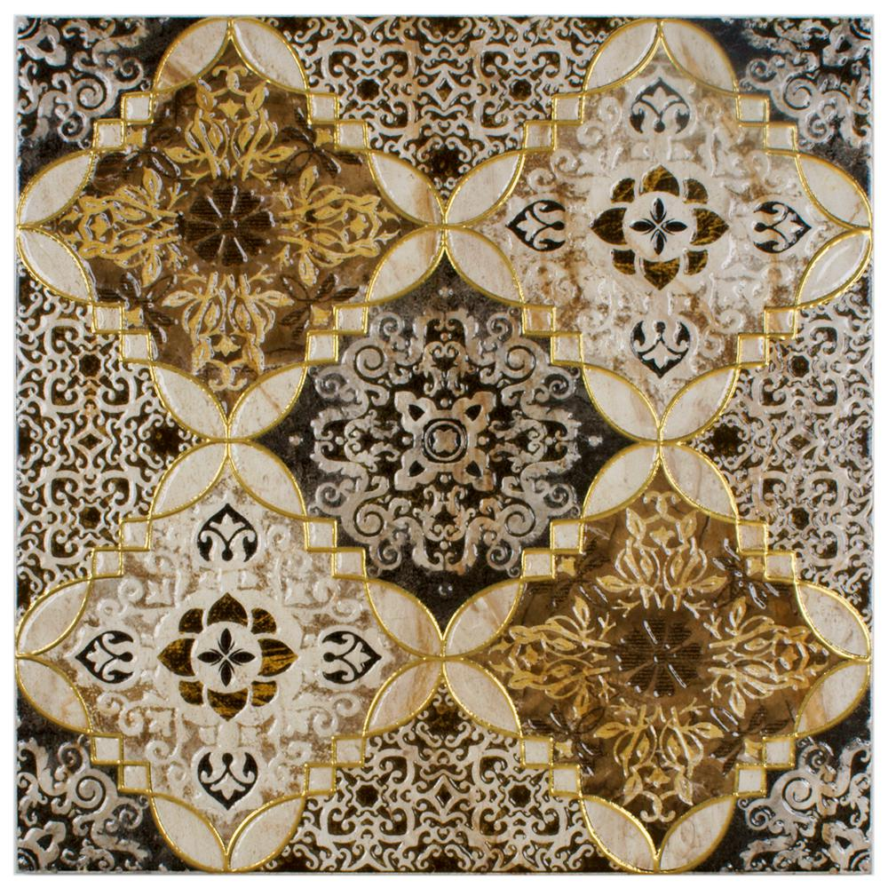 Merola Tile Dana Toja Decor 17-3/4 in. x 17-3/4 in. Ceramic Floor and Wall Decor Tile
