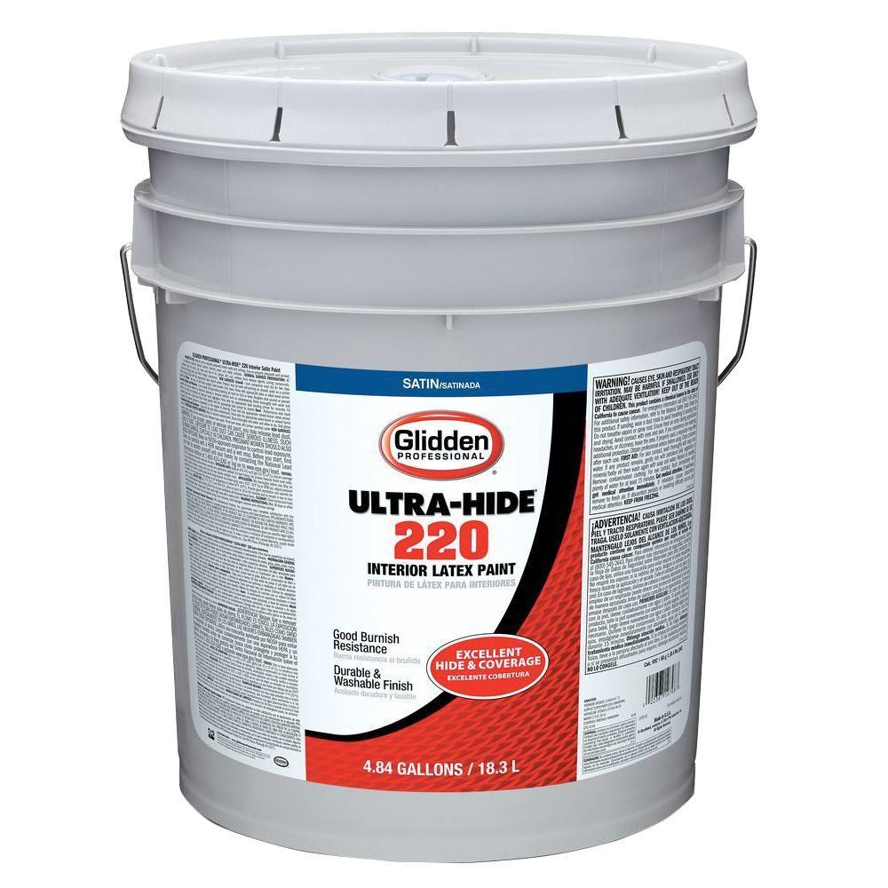 Glidden Professional 5 Gal Ultra Hide 220 White Tint Base Satin Interior Paint