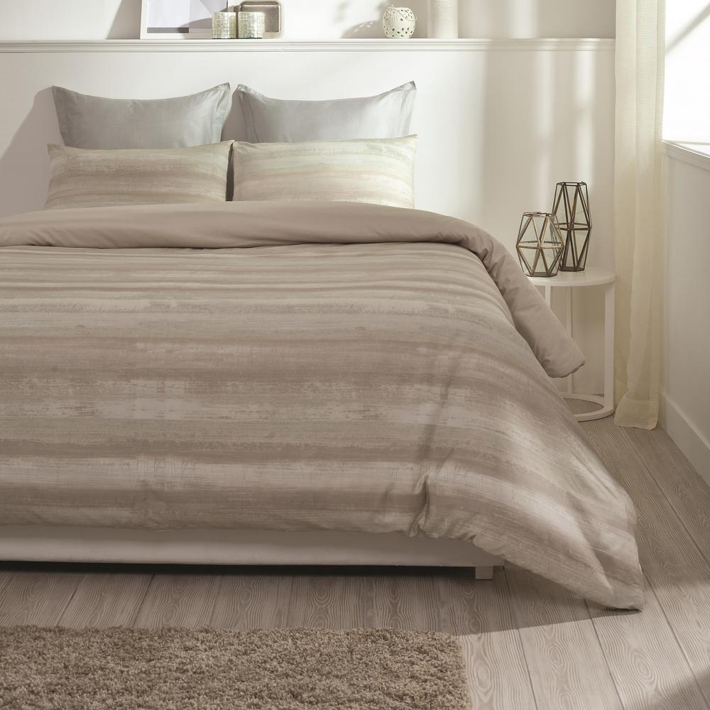 Coastline Wrinkle Resistant Reversible Print 100% Organic Cotton Beige Queen Duvet Cover Set