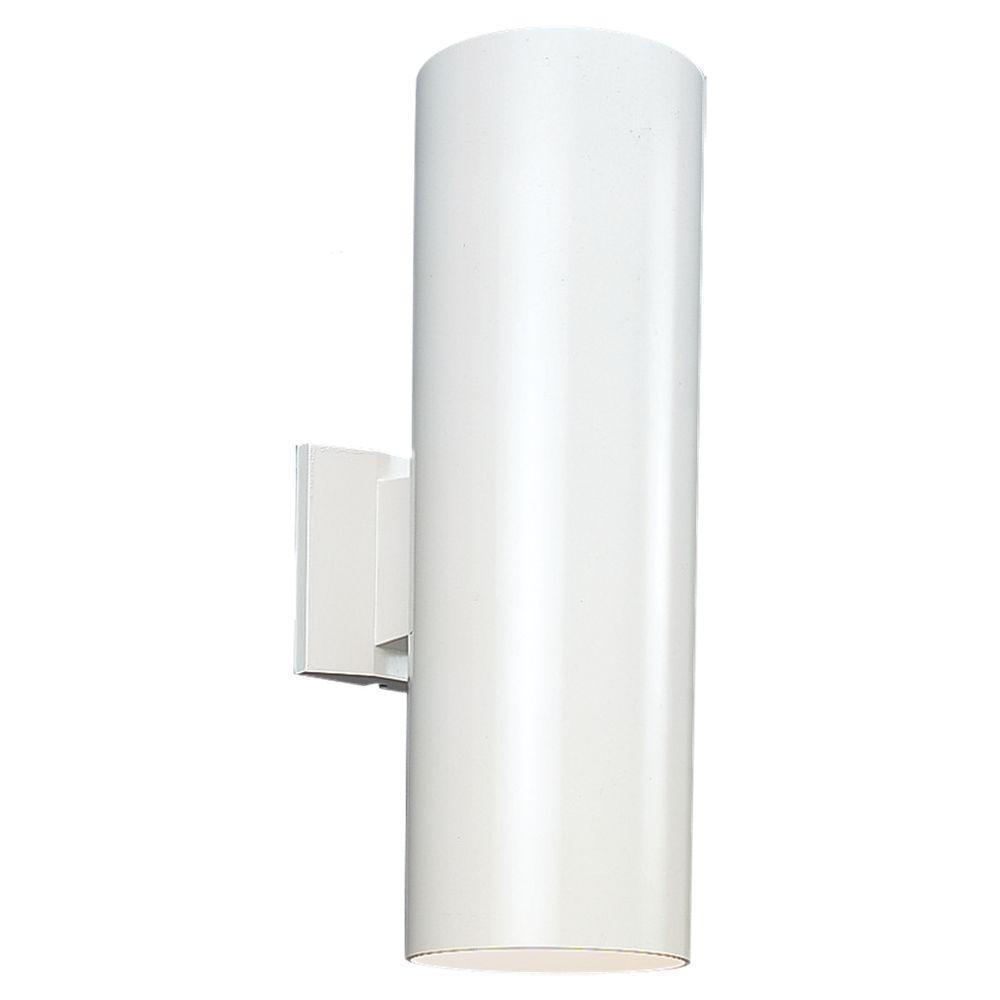 Sea Gull Lighting Outdoor Cylinder Collection 2 Light White Outdoor Wall Fixture 8313902 15