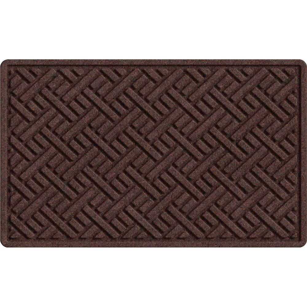 Textures Plush Parquet Brown 24 in. x 36 in. Recycled Rubber Door Mat