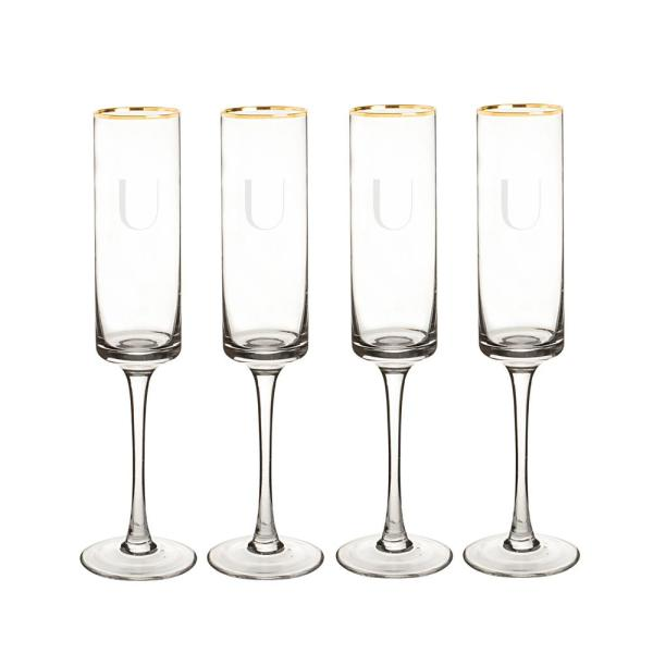 Cathy's Concepts Personalized Gold Rim Contemporary Champagne Flutes - U
