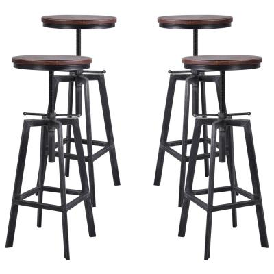 Thomas Adjustable Silver Brushed Gray Barstool (Set of 4)