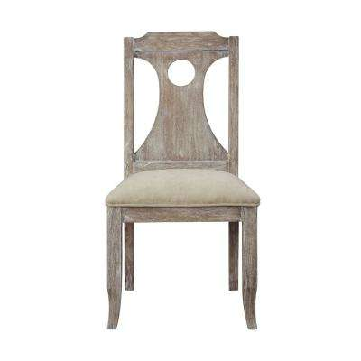 Colette White Fabric and Reclaimed Gray Oak Side Chair (Set of 2)