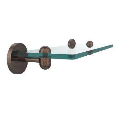 Tango 16 in. L x 2.75 in. H x 5 in. W Clear Glass Vanity Bathroom Shelf in Venetian Bronze