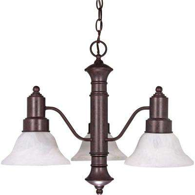 3-Light Old Bronze Chandelier with Alabaster Glass Bell Shades