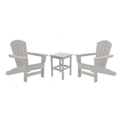 Boca Raton Light Gray 3-Piece Recycled Plastic Patio Curveback Adirondack Chat Set