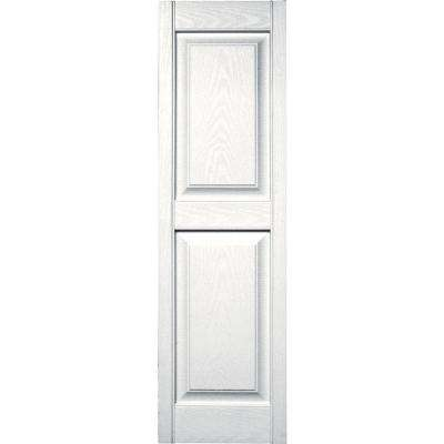 15 in. x 51 in. Raised Panel Vinyl Exterior Shutters Pair in #117 Bright White