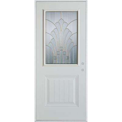37.375 in. x 82.375 in. Art Deco 1/2 Lite 1-Panel Painted White Steel Prehung Front Door