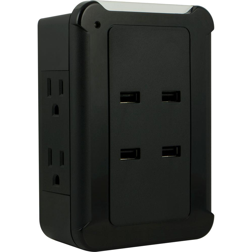 4-USB Port and 4 AC Outlet 4.2 Amp Surge Protector Tap