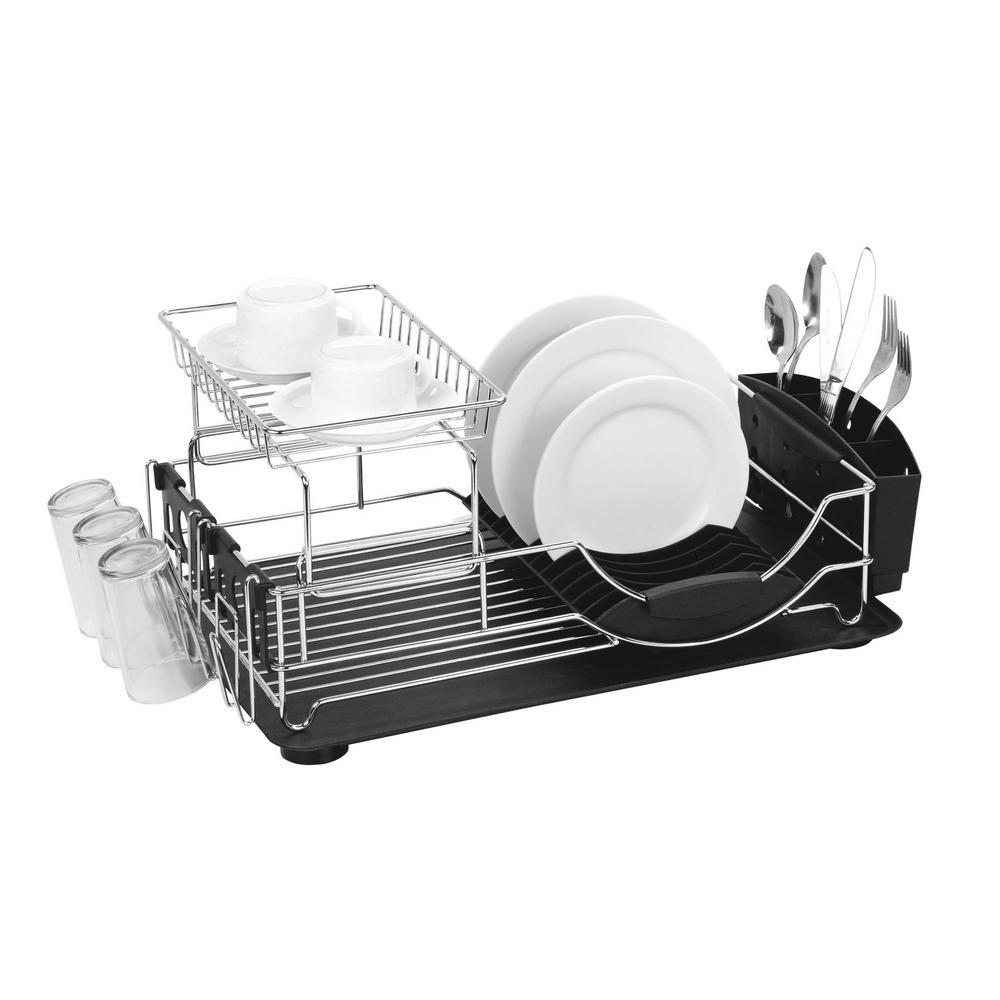 Deluxe 2-Tier Black Standing Dish Rack