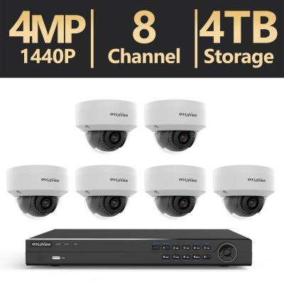 8-Channel Full HD 4MP IP Indoor/Outdoor Surveillance 4TB 4K Output NVR System (6) Dome Cameras with Remote Viewing