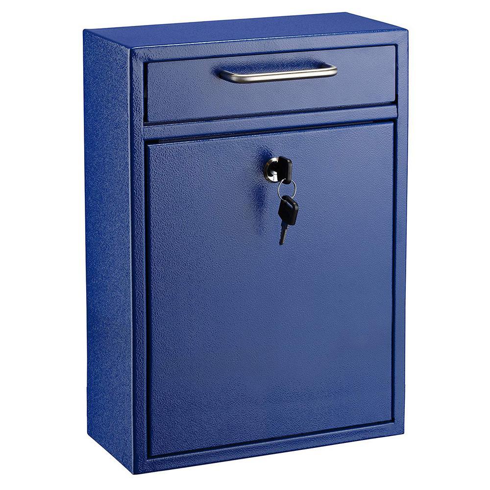 AdirOffice Large Ultimate Blue Drop Box Wall Mounted Mail Box