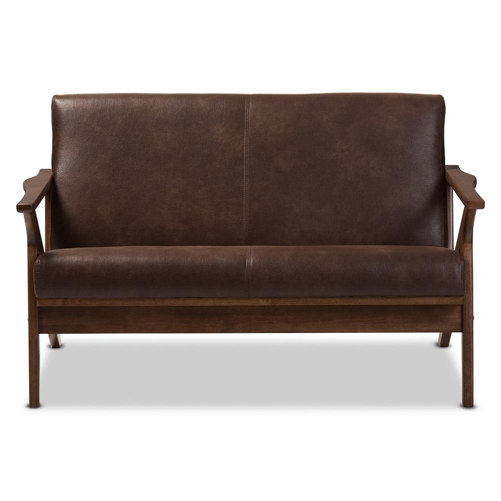 Bianca Dark Brown/Walnut Brown Faux Leather Loveseat