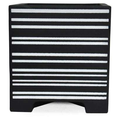 15 in. sq. Black Painted Composite Planter in Stripes