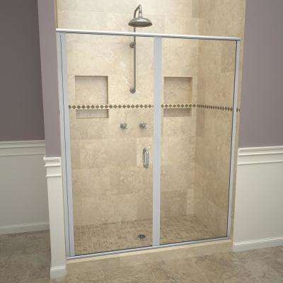 1200 Series 59 in. W x 76-1/8 in. H Semi-Frameless Swing Shower Door in Brushed Nickel with Pull Handles and Clear Glass