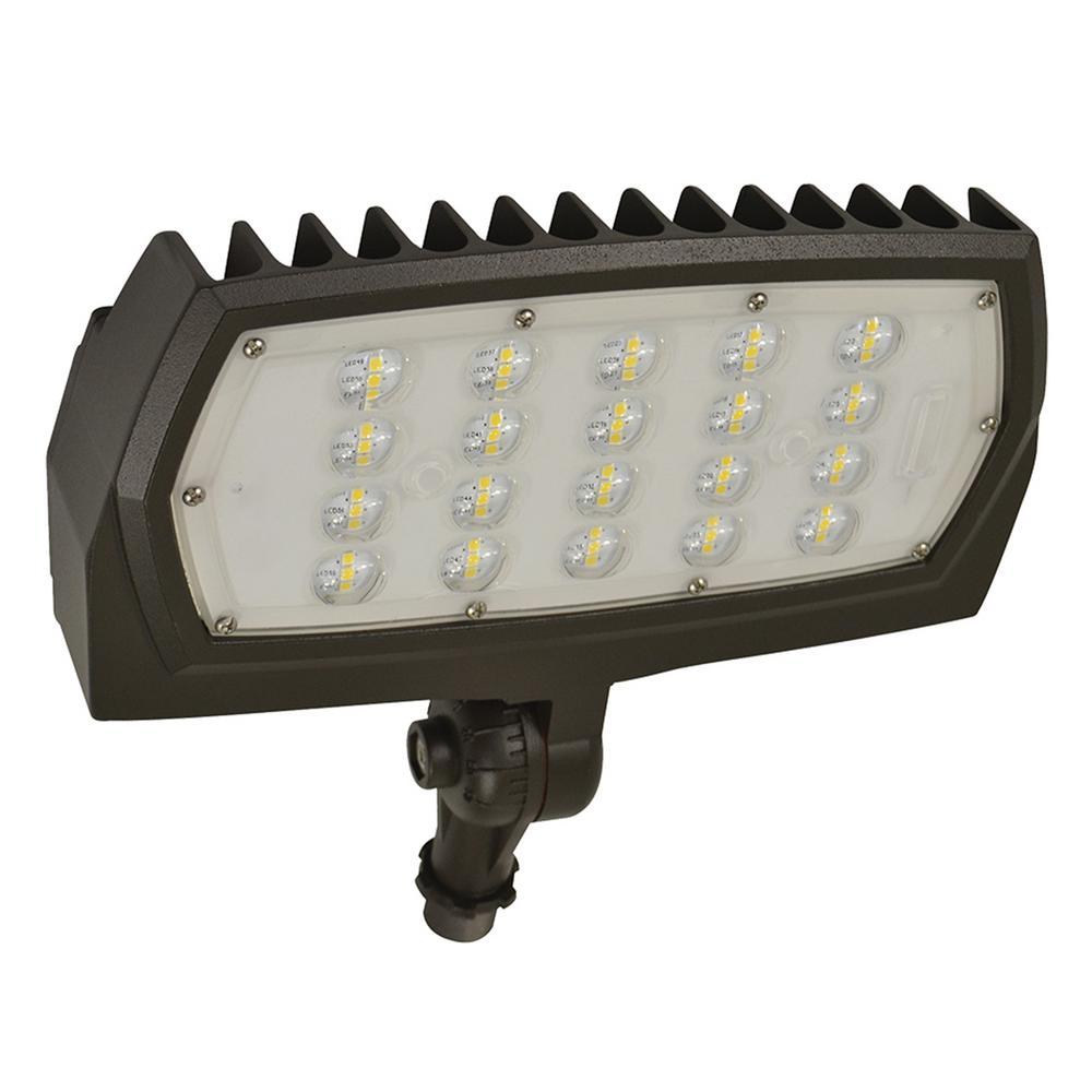 28-Watt Bronze Outdoor Integrated LED Medium Landscape Flood Light 120-277V Knuckle Mount Daylight 5000K 99877
